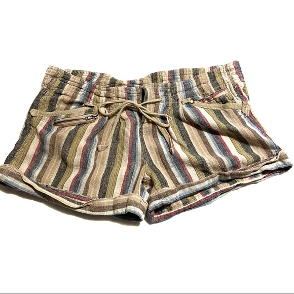 Daytrip Pants - Daytrip Colorful Striped Linen Elastic Tie Shorts